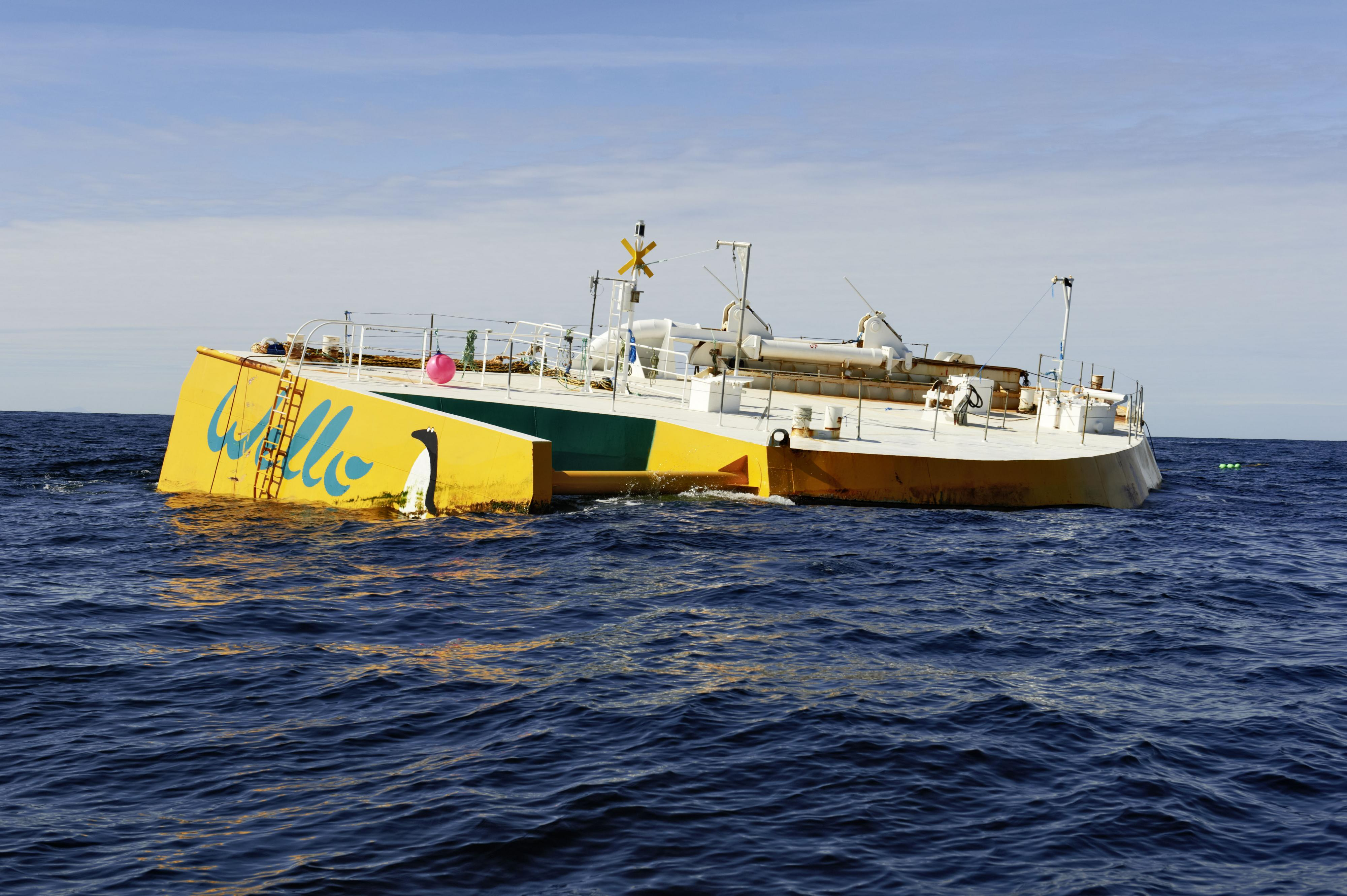 Wave energy converter Penguin in Orkney, Scotland Photo: Jan Oelker 2014