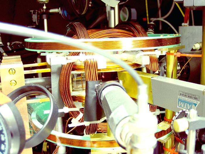 View of the vacuum chamber within which the three-dimensional skyrmion is created. Photo: Russell Anderson.